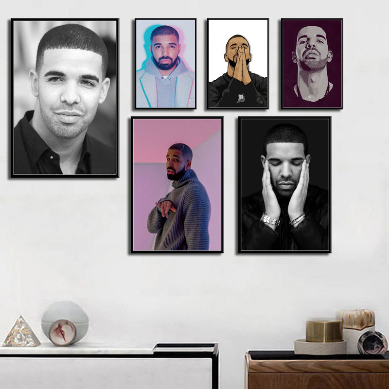 Drake Hip Hop Rap Music Star Rapper Star Posters And Prints Canvas Painting Pictures On The Wall Decoration Home Decor Affiche image