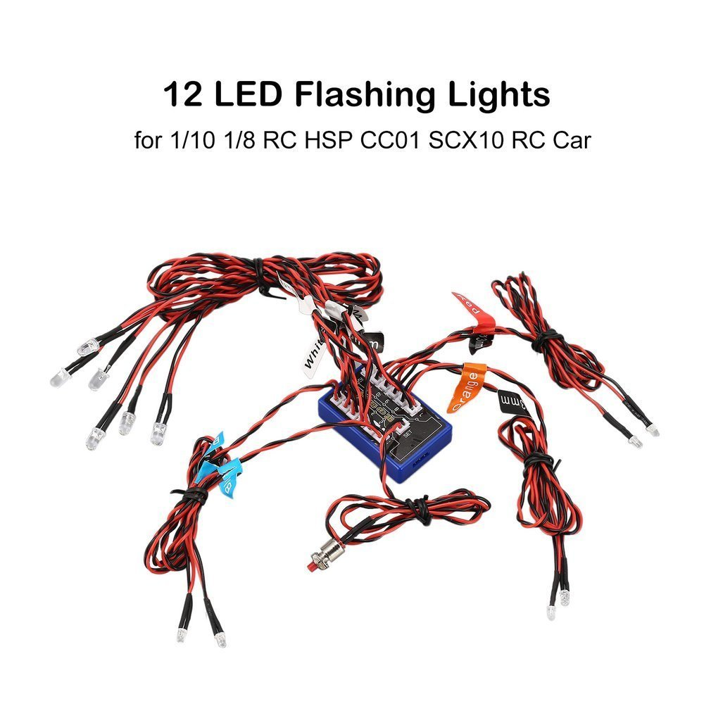 12 Ultra LED Flashing Bright Light Strobe Lamps Kit System for 1/10 1/8 RC Drift HSP TAMIYA CC01 4WD Axial SCX10 RC Car Truck Battery Accessories & Charger Accessories     - title=
