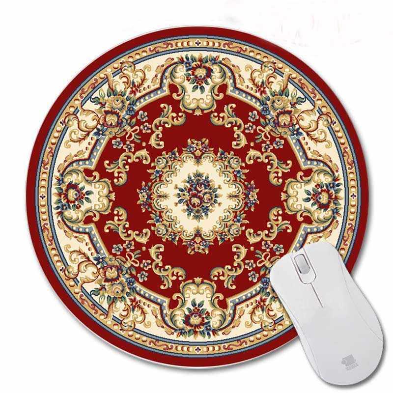 200*200*2 Mm Cetak Merah Karpet Persia Disesuaikan Non-Slip Karet 3D Printing Gaming Tahan Lama Notebook bulat Mouse Pad