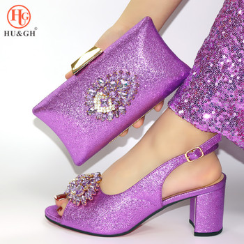 2020 Italian Fashion Lady High Heels Shoes And Bag Set Sexy Rhinestone Designs African Women Wedding Sandals With A Matching Bag
