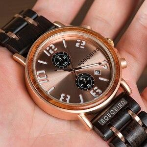 Image 4 - Bobo Vogel Relogio Masculino Horloge Mannen Hout Chronograph Horloges Mannelijke Top Merk Luxe Militaire Rvs Grooms Gift