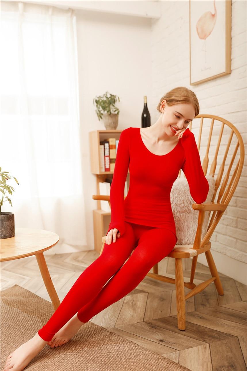 Shaping Body Women's Thermal Underwear Low Collar Thermal Underwear Thermostat Warm Thermal Underwear