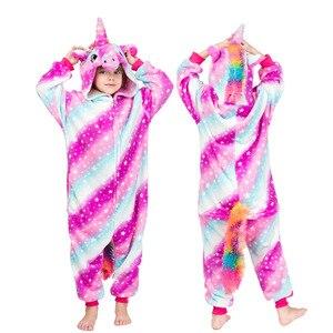 Image 5 - NEW Kids Boys Girls kigurumi Pajamas Set Animal Pegasus Pig Rabbit Pyjamas For Children Flannel Sleepwear Onesie Winter Hooded
