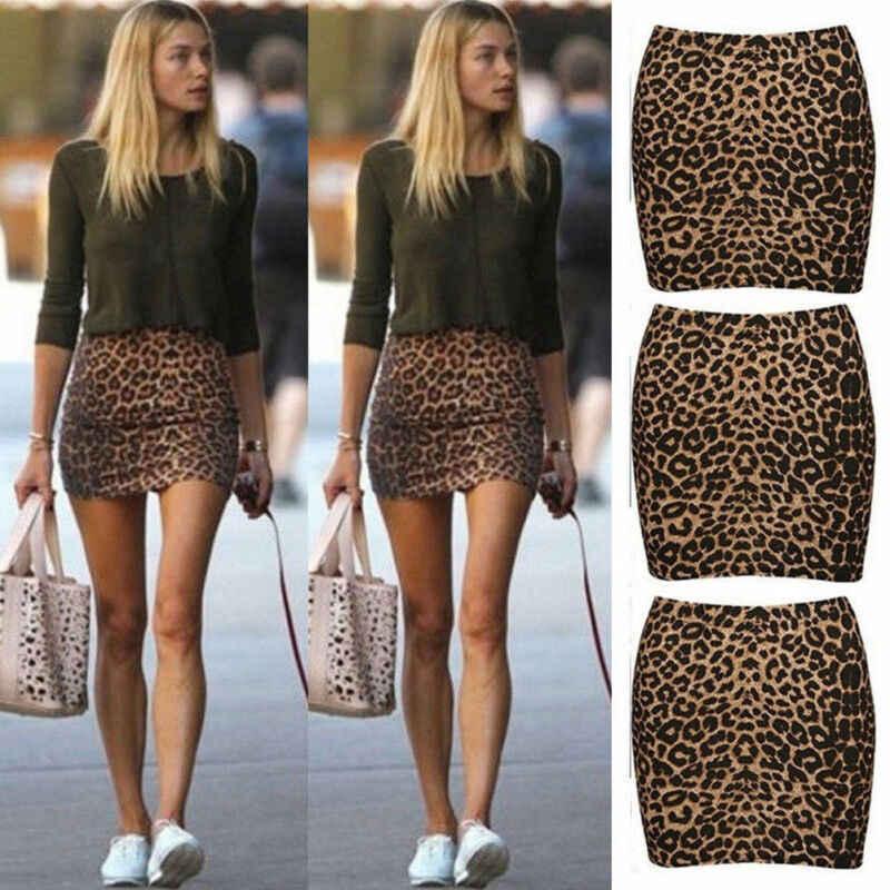 Seksowny damski wzór w cętki wysokiej talii ołówek krótka spódniczka damska Slim Fit smukłe modne krótkie spódniczki
