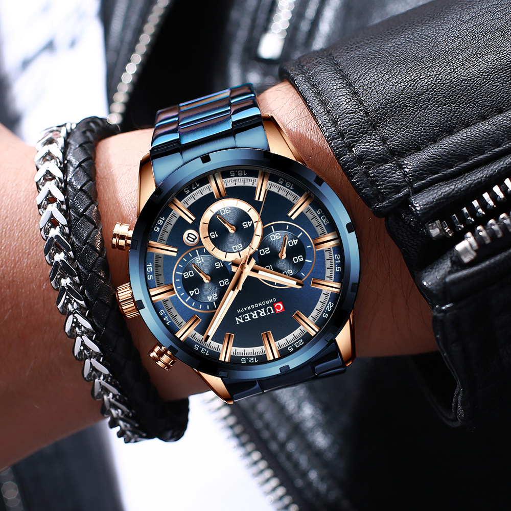 CURREN New Fashion Mens Watches with Stainless Steel Top Brand Luxury Sports Chronograph Quartz Watch Men Relogio Masculino 4