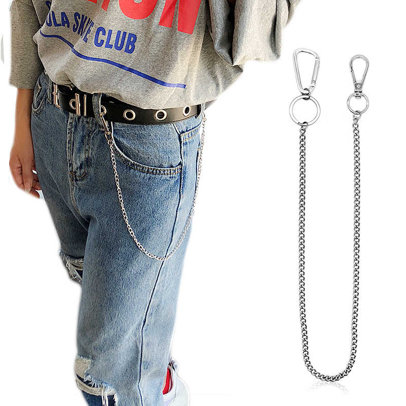 Stainless Steel long 45cm Punk Hip-hop Trendy Belt Waist Chain Male Pants Chain Men Jeans Punk Silver Metal Trousers Keychain