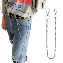 Stainless Steel long 45cm Punk Hip-hop Trendy Belt Waist Chain Male Pants Men Jeans Silver Metal Trousers Keychain