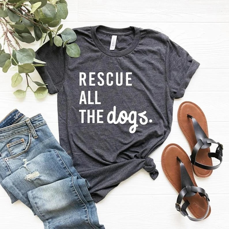 100% Pure Cotton T Shirt rescue all the <font><b>dogs</b></font> Letter Print Women Short Sleeve O Neck Loose <font><b>Tshirt</b></font> 2020 <font><b>Summer</b></font> Tee Shirt Tops image