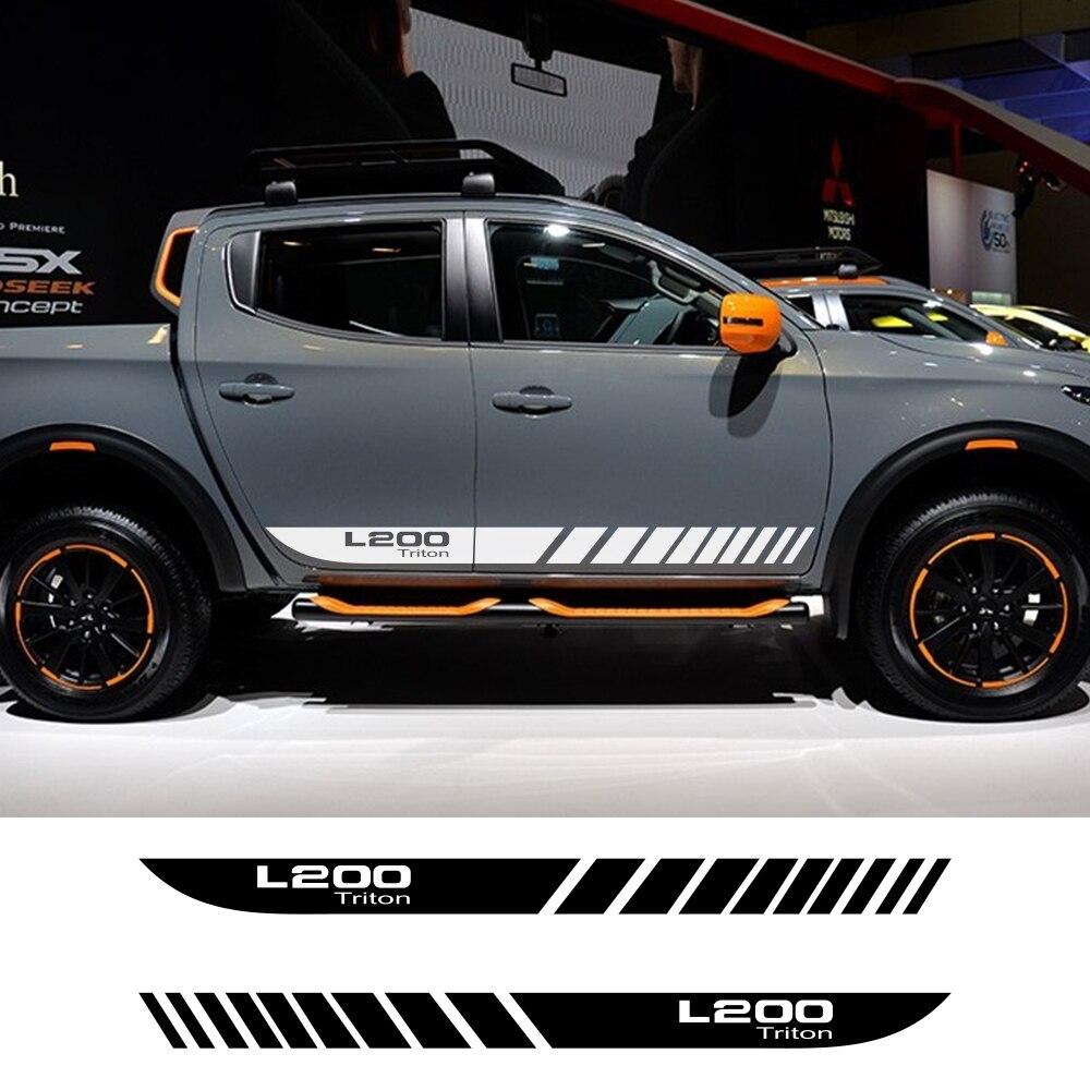 2 шт. автомобильные длинные боковые полосы наклейки для Mitsubishi L200 Triton авто Спорт DIY виниловая пленка наклейки для стайлинга автомобиля аксесс...