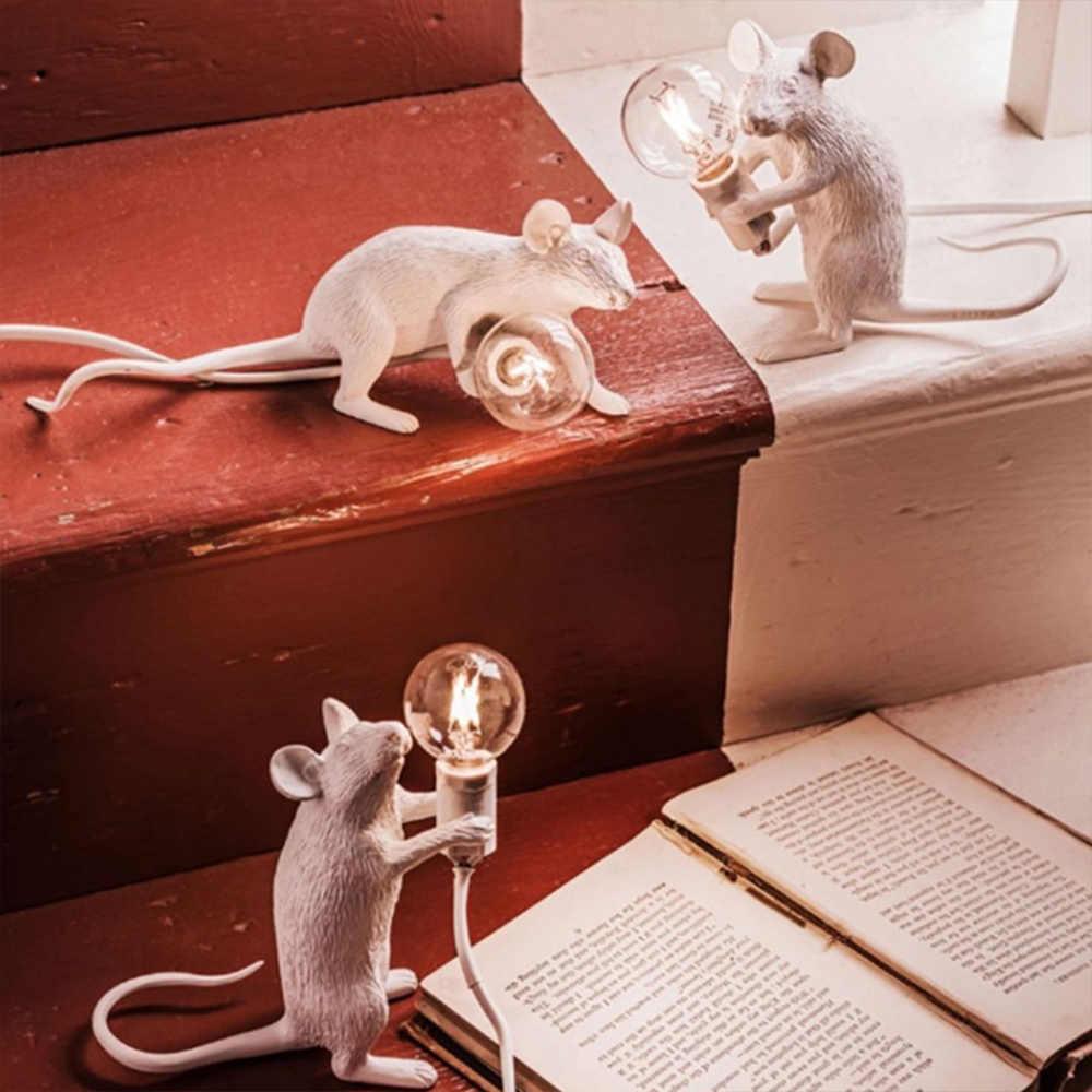 Postmodernen Harz Tier Ratte Maus Tisch Lampe Kleine Mini Maus Nette LED Nacht Led-leuchten Wohnkultur Schreibtisch Lichter Seletti Nacht lampe