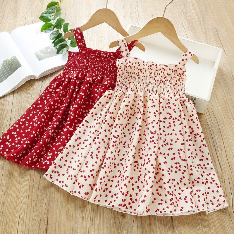 VIDMID Summer New party style clothes Girls Sexy Dress Red floral Plaid children kids Sleeveless cotton Short Dresses P510 2