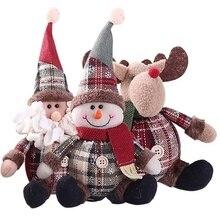 Рождественская Снежинка клетчатая ткань милый маленький человек Санта Клаус Снеговик игрушечный олень Рождественское украшение, подарок для дома детская комната для девочек