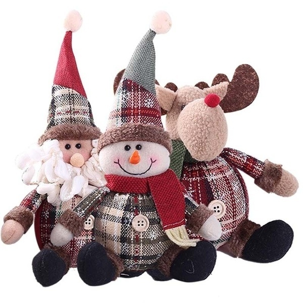 Christmas Snowflake Plaid Fabric Cute Little Man Santa Claus Snowman Deer Doll Christmas Decoration Gift For Home Baby Girl Room