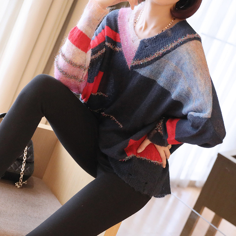 V-neck Loose Large-size Lurex Sweaters Women's Korean Thin Autumn New-style Sweater Women's OL Pullovers Color Block