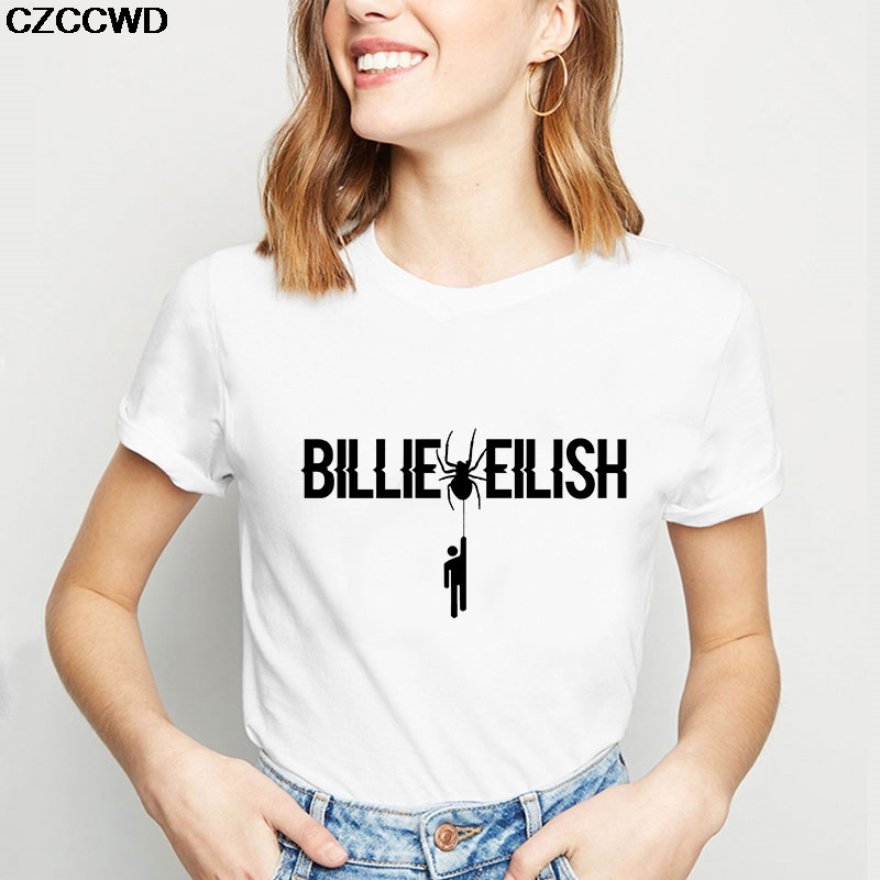2019 Summer New Women Top Ulzzang Harajuku Aesthetic Fashion Vintage Billie Eilish Letter Printed Korea Style Streetwear Tshirt