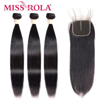Miss Rola Brazilian Hair Straight 100% Human Hair Bundles with Closure Natural Color Non-Remy Hair 3 Bundles with 4*4 Closure