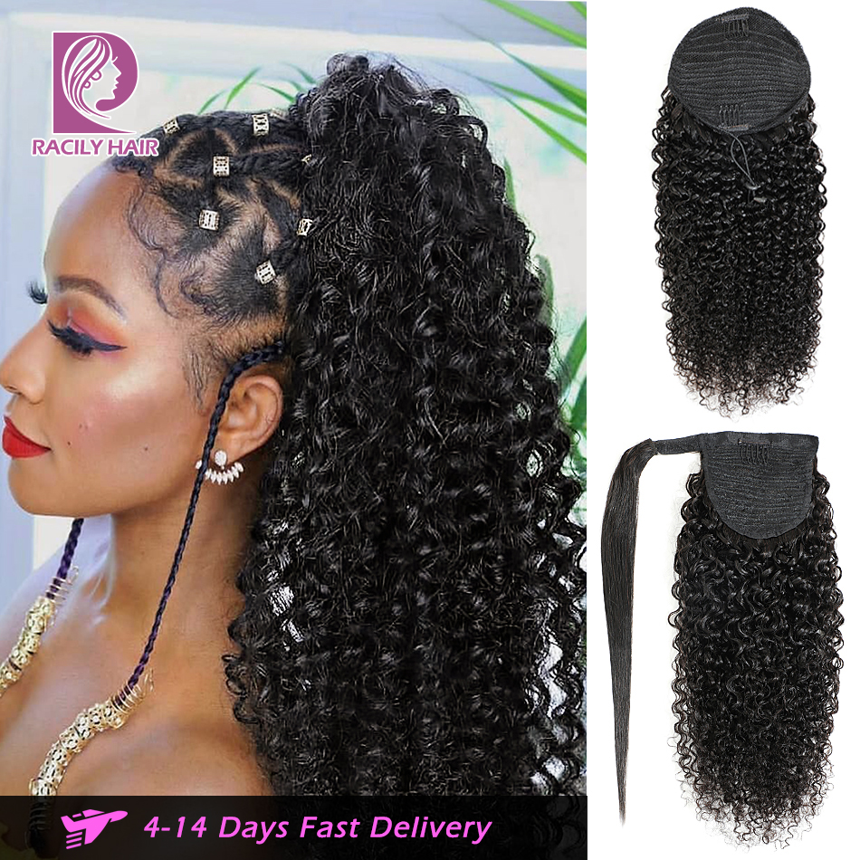 Racily Hair Afro Kinky Curly Ponytail Human Hair Remy Ombre Brazilian Wrap Around Drawstring Ponytail Clip In Hair Extensions