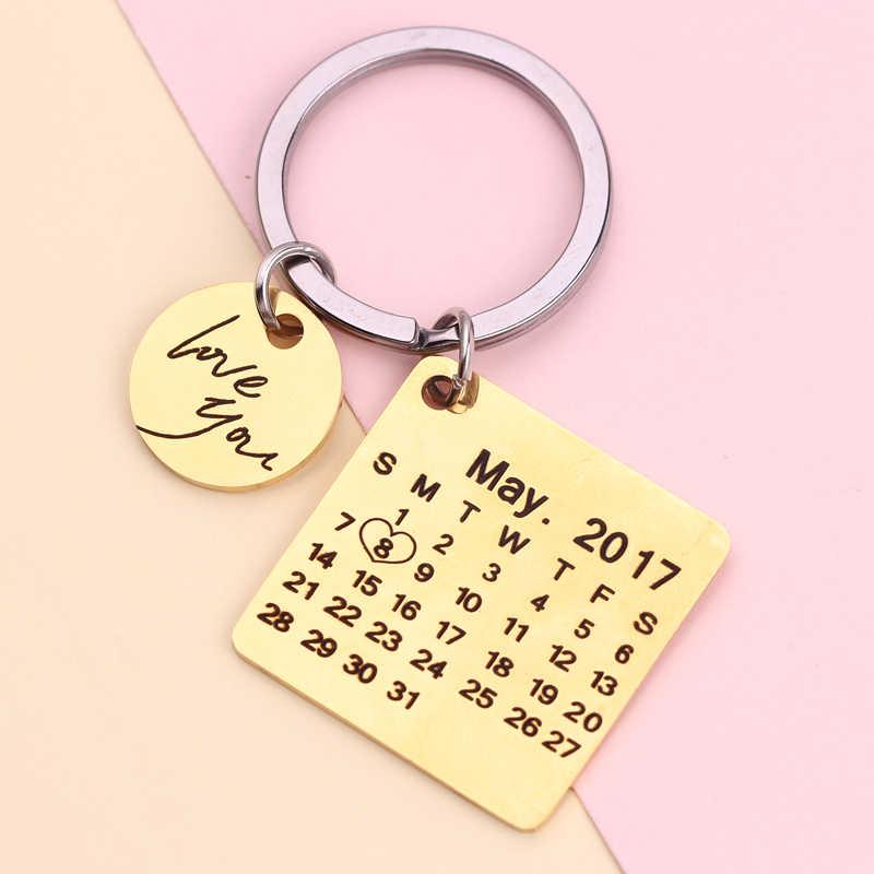 Персонализированные пользовательские фото брелок из нержавеющей стали выгравировать фото имя календарь юбилей с сердцем брелок для женщин мужчин подарок