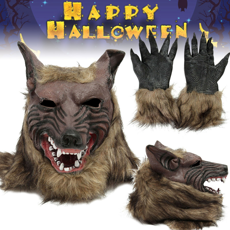 Halloween Latex Rubber Wolf Head Hair Mask Werewolf Gloves Costume Party Scary Decor BM88
