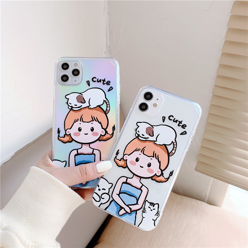 Cute Cartoon Girl Cat Pattern Phone Case For Iphone XS 12 Mini 11 Pro Max 7 8 Plus SE 2020 X XR Luxury Lasersoft Clear Covers