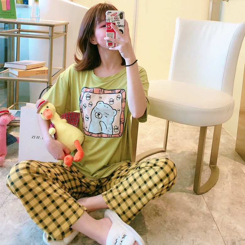 2020 Spring Summer Night Sleepwear For Women Short Sleeve Long Pants Casual Pajama Sets For Girl Comfortable Home Suits