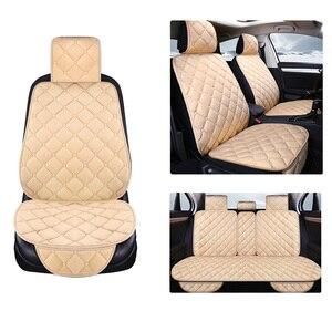 Image 1 - Uniwersalny pluszowe pokrycie siedzenia samochodu zima ciepłe Faux Auto przód tył oparcia siedzenia poduszka wnętrze akcesoria Protector