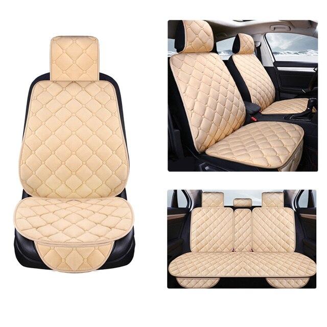 Uniwersalny pluszowe pokrycie siedzenia samochodu zima ciepłe Faux Auto przód tył oparcia siedzenia poduszka wnętrze akcesoria Protector