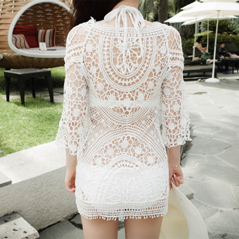 Bathing Suit Blouse Seaside Holiday Coat Sexy Crocheted Flowers Pierced Bikini Outdoor Loose-Fit Lace Beach Coat
