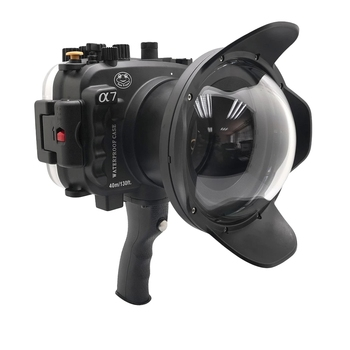 """40m/130ft For Sony A7 NG Series A7R A7S underwater camera housing diving box case cover with 6"""" Dome port & pistol grip Black"""