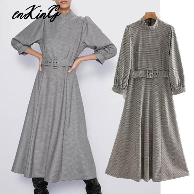 2019 England Vintage Elegant Houndstooth Plaid Party Dress Women Vestidos De Fiesta De Noche Vestidos Midi Dress Blazers
