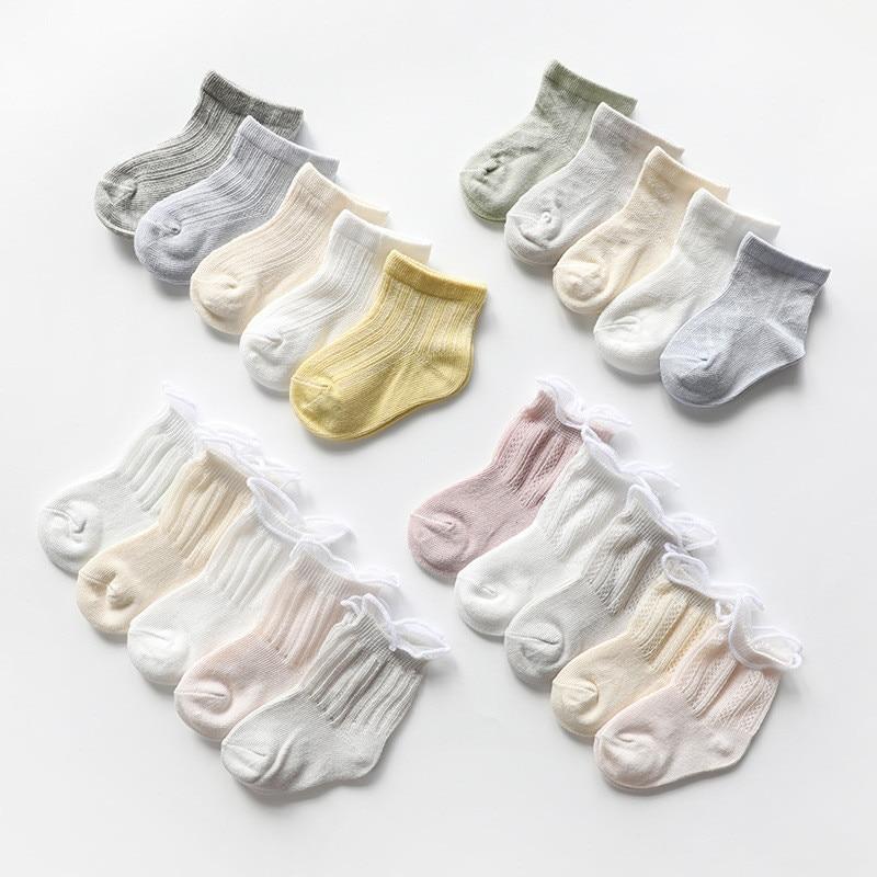 5Pairs/Pack Baby Socks New Born Summer Mesh Thin Baby Socks For Girls Infant Cotton Casual Baby Boys Socks Summer Style