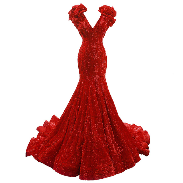 Rsm66736 מיוחד כובע שרוולים V צוואר בת ים תחרה עד ארוך רכבת אדום אלגנטי ערב שמלות