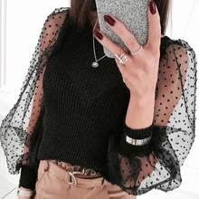 Womens See-through Top Sheer Mesh Slim Fit T-Shirt Lace Organza Ruffled Sleeve Tops Tee Stretch Pullover Top Warm Winter Clothes(China)