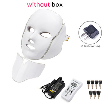 7 Colors Light LED Facial Photon Therapy Beauty Machine With Neck Skin Rejuvenation Face Care Anti Acne Whitening Instrument - Russian Federation, US Plug withoutbox