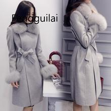 FENGGUILAI Elegant Womens Wool Long Coats 2019 Winter Detachable Faux Fur Collar Blend Coat And Jacket Office Lady Belt Coa