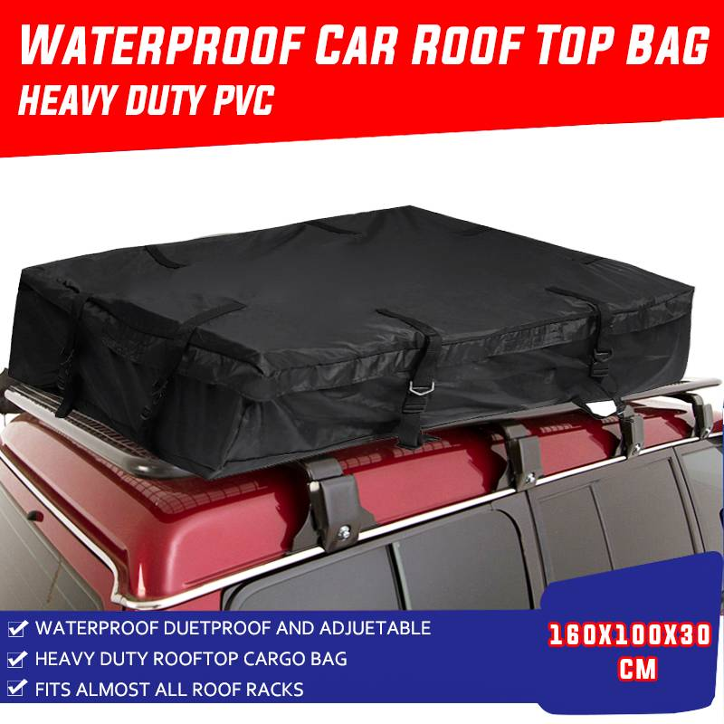 กันน้ำรถหลังคากระเป๋าเดินทาง Cargo กระเป๋าเดินทางสีดำ 160x100x30 ซม.ขนาดใหญ่โพลีเอสเตอร์ TOP ชั้นวางสั...