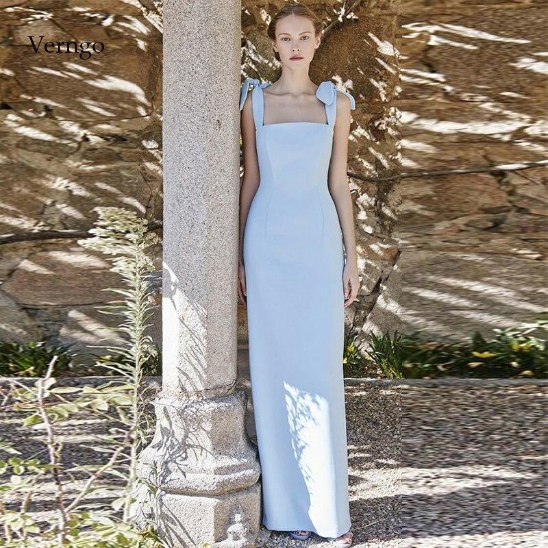 Verngo Sky Blue Evening Dress Elegant Boat Neck Long Dresses 2020 Fashion Prom Party Dress Robe De Soiree