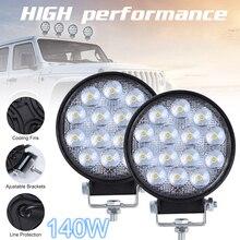 Luz de coche 2 unids/lote 90 W/140W 6000K Circular impermeable LED luz de trabajo para todoterreno Suv/barco/luz de trabajo de camión