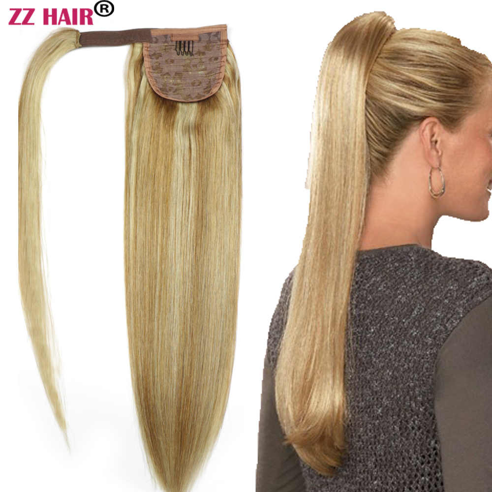 "ZZHAIR 80g 16""-24"" Machine Made Remy Hair Magic Wrap Around Ponytail Clip In 100% Human Hair Extensions Horsetail Stragiht"