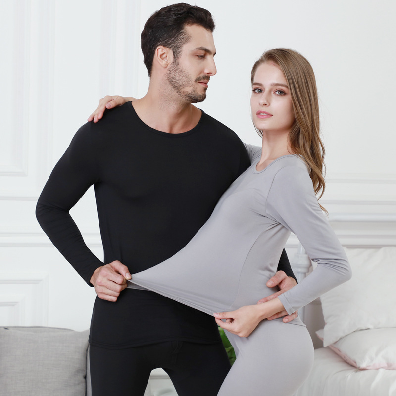 New Cotton Warm Milled Thermal Undershirts Women Men Long Johns Sets With Round Collar Men Underwear Suits