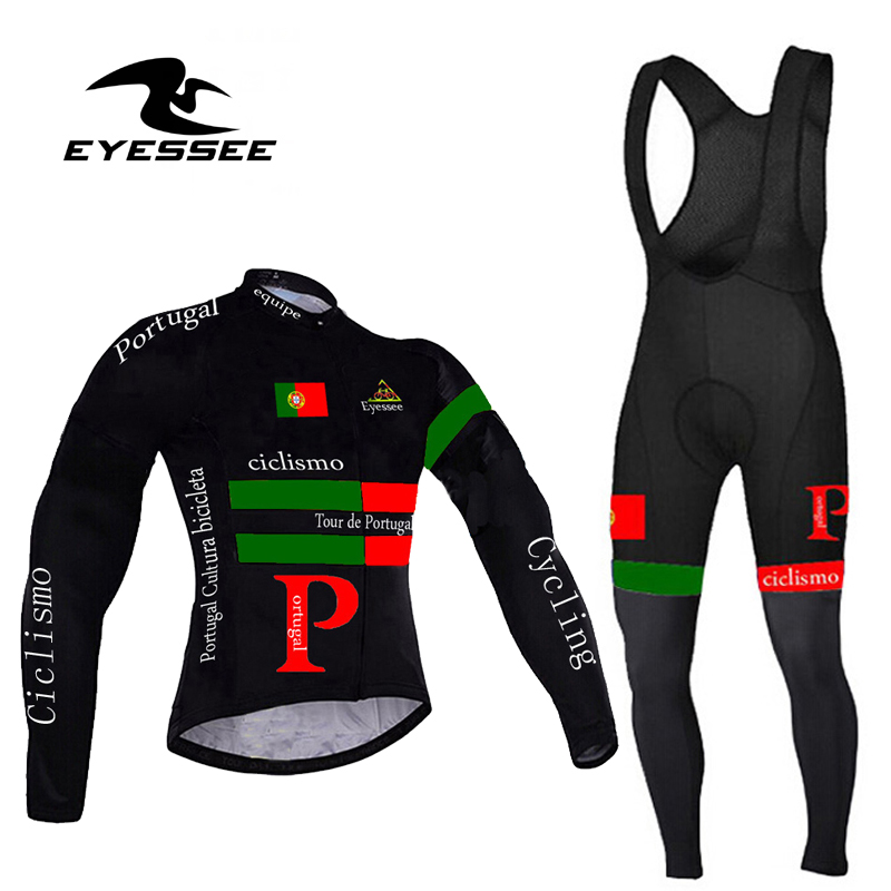 Profession Men Portugal Cycling Jersey Set / Autumn Eyessee Team High-grade Breathable Riding Long Sleeve Bicycle Clothing