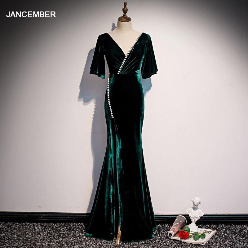 JANCEMBER Velvet Deep V Dress Party Mermaid Open Leg Evening Dress 2020 Dark Green Vestidos De Fiesta De Noche