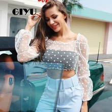 GIYU Solid Lange Mouwen Polk Dot Gedrukte T-shirt Sexy See Through Vrouwen Tee Crop Tops Basic Vrouwelijke camiseta mujer 2019(China)