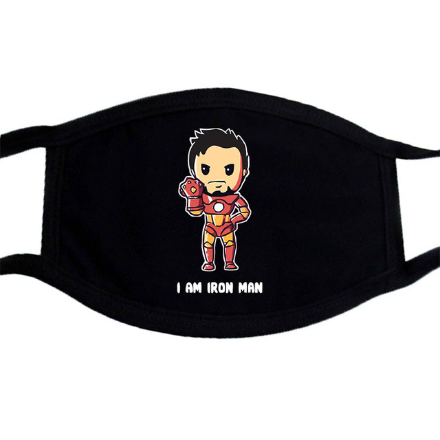 Iron Man Groot Superhero Mask Anime Cartoon Cute  Dust Masks Black Casual Keep Warm Mask Kpop Mouth Muffle Face Masks 2