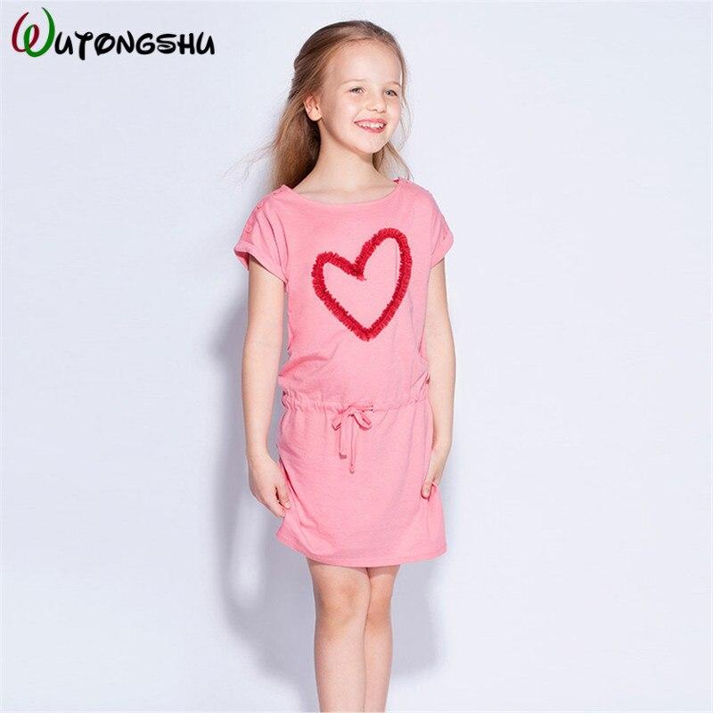 Summer Baby Girls Dresses Pink Soft Pur Cotton Girls Sundress Vestido Infantil Sports Kids Dress For Kids Children Clothes 1-7Y