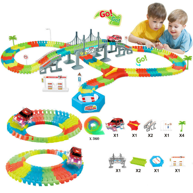 Glowing Race Track Bend Flex Flash in the Dark Assembly Flexible Car Toy 165/220/240pcs Glow Racing Track Set DIY Puzzle Toys