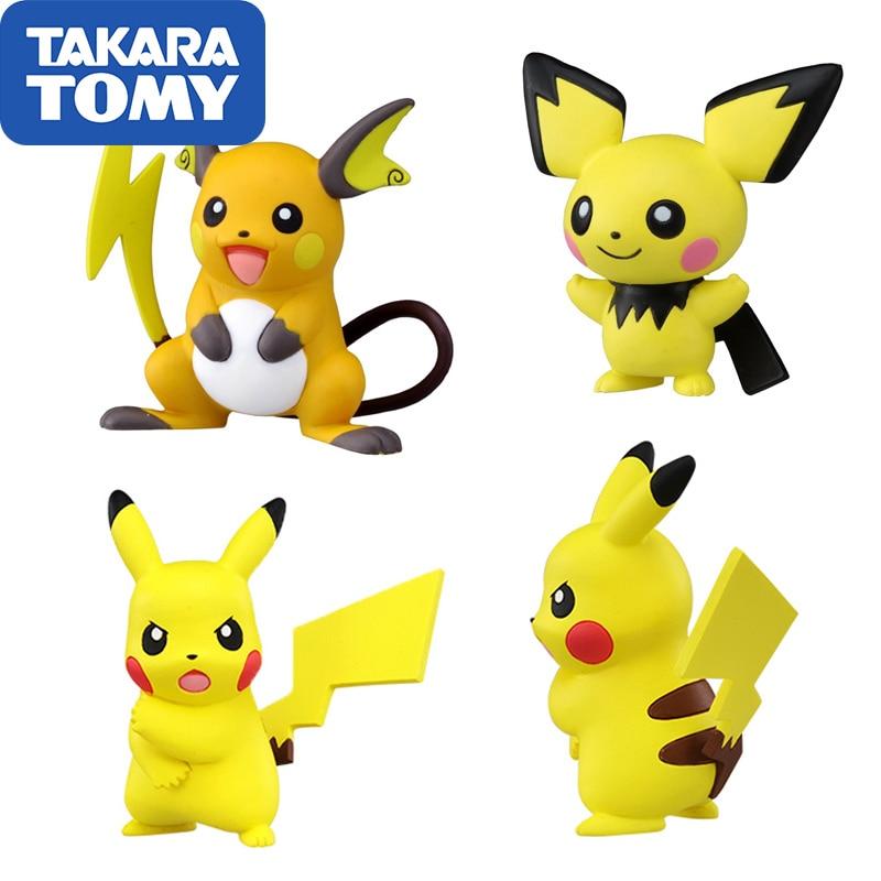 TAKARA TOMY Pokemon Genuine Japan Version Action Figure MC Alola Region Raichu Pikachu Pichu Action Figure Doll Collections