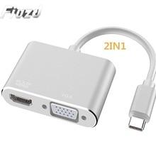 Fiuzd USB C 유형 C 노트북 도킹 스테이션 Macbook USB C to HDMI 미니 VGA 4K RJ45 이더넷 USB 3.0 유형 C 충전 도크