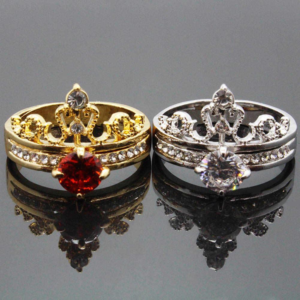Модный Роскошный Золотой Цвет Кристалл кубический циркон Корона Женское Обручальное украшение женское свадебное кольцо цветок кольцо