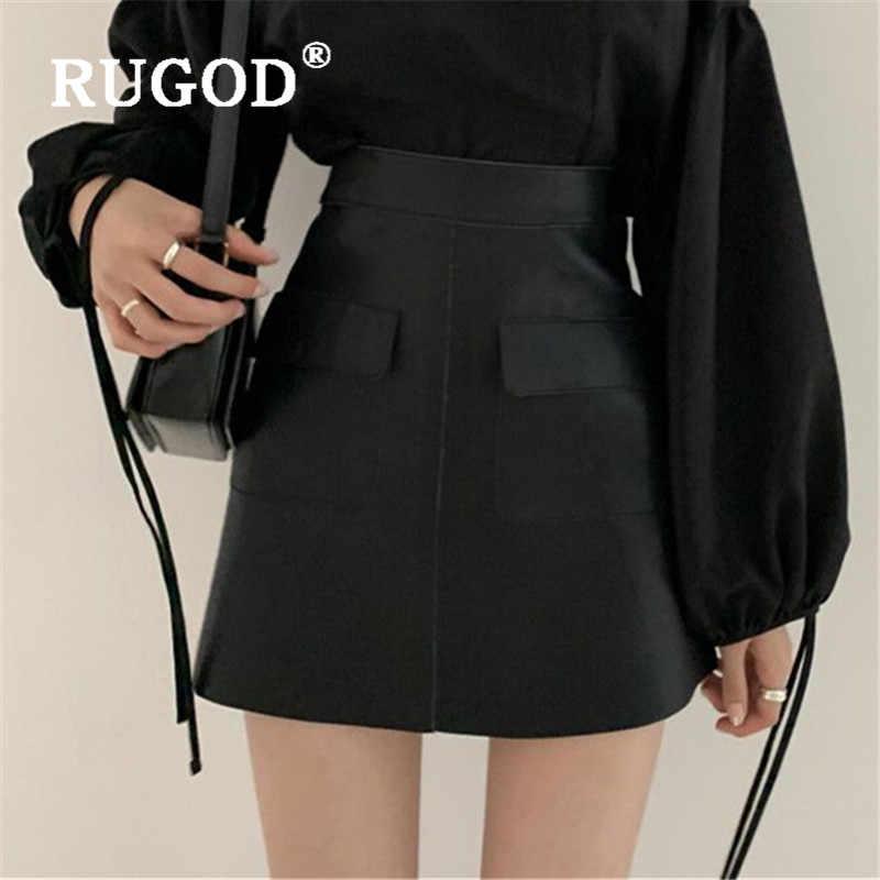 Rugod 2020 Mới Đến Nữ Váy Retro Cao Cấp Túi Hông Da Chữ A Váy Nữ Váy